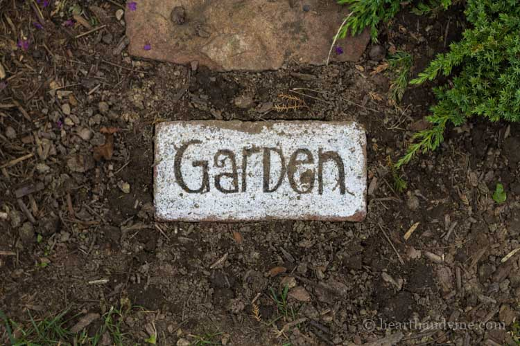 Brick word art is super simple and is a great way to add beauty and whimsy to the garden. Use as a stepping stone or pretty accent piece.