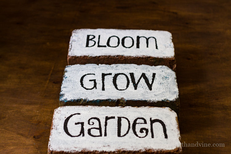 Brick word art for the garden.