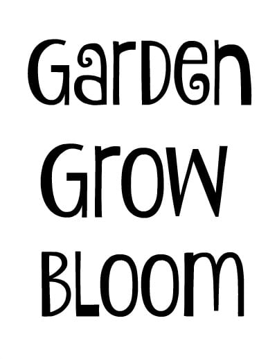 Garden words for brick word art.
