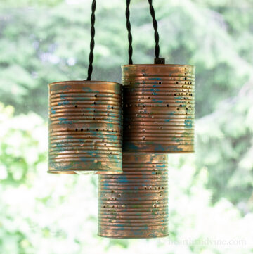Trio of tin can pendant lights.