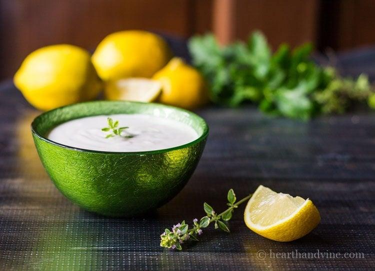 Lemon thyme dipping sauce.