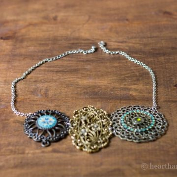 Statement necklace made from vintage jewelry.