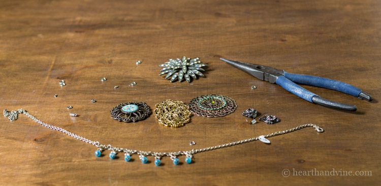 Materials for making a statement necklace.