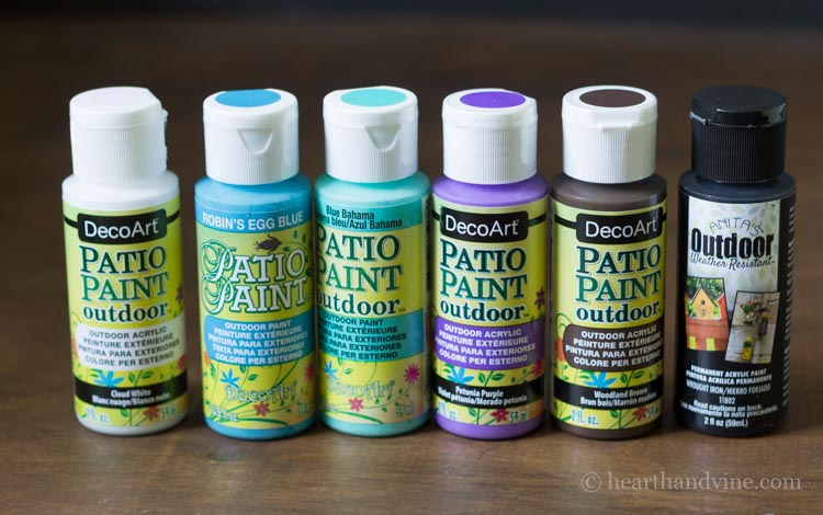 Patio paints in different colors