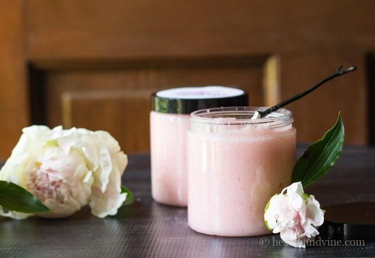 Blush pink sugar scrub with peonies.