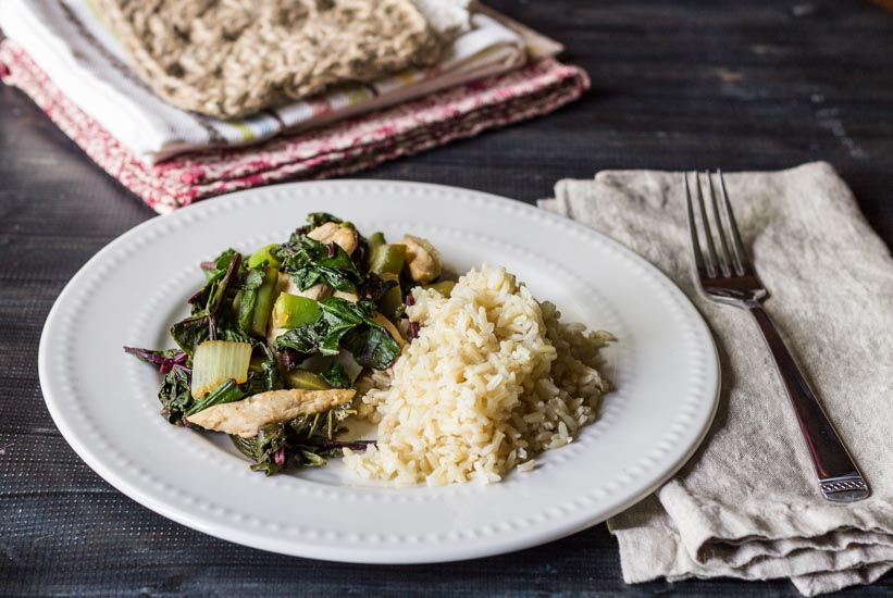 Summer greens stir fry with brown rice.