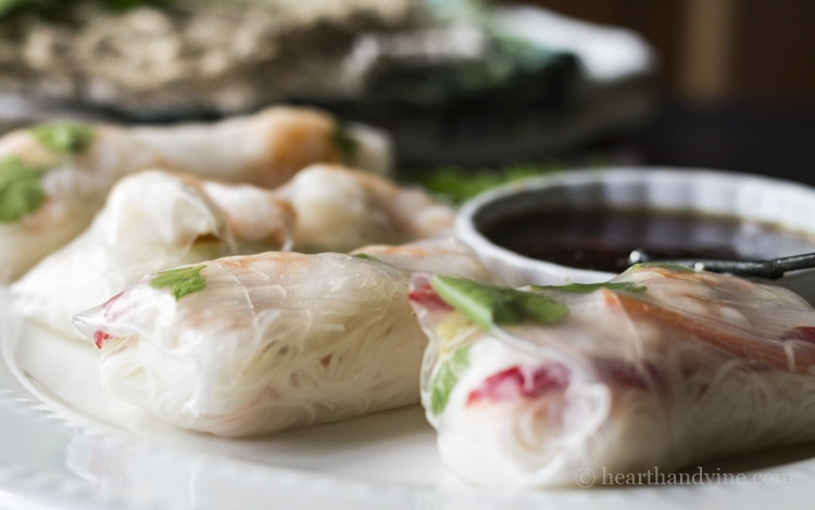 Healthy and light shrimp spring rolls with dip.