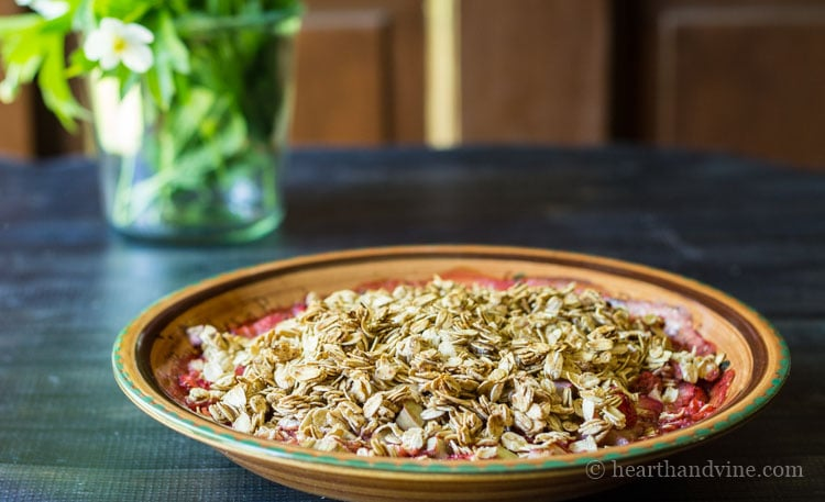 Strawberry rhubarb crisp out of the oven