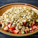Strawberry rhubarb crisp before baking