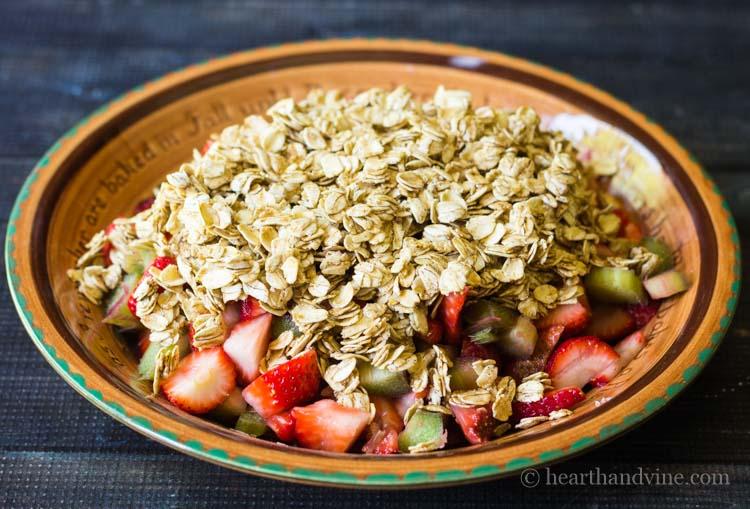 Strawberry rhubarb crisp before baking