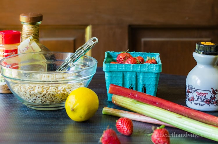 Ingredients for strawberry rhubarb crisp
