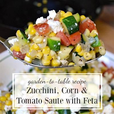 Zucchini corn and tomato saute with feta cheese.