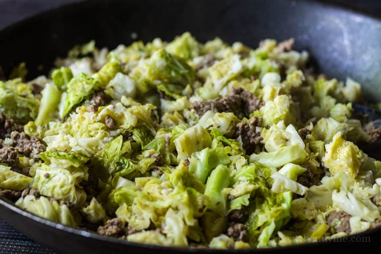 Beef and cabbage in skillet