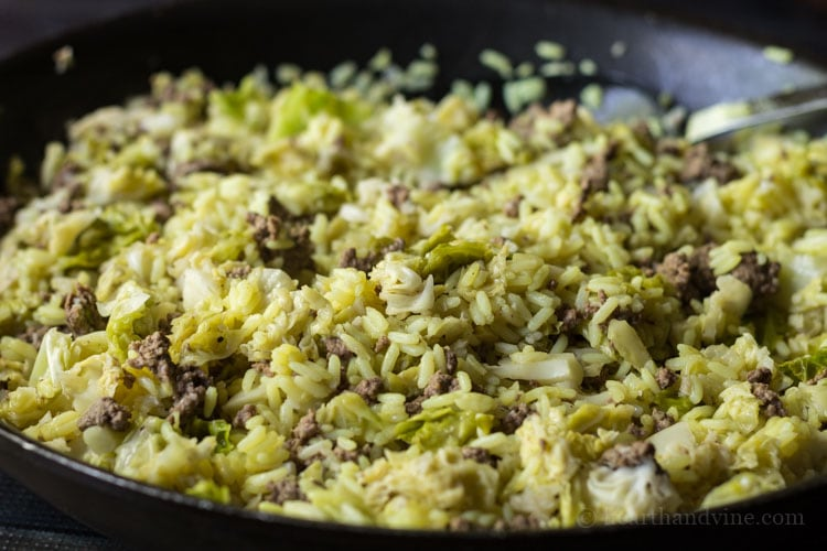 Beef cabbage and rice in skillet