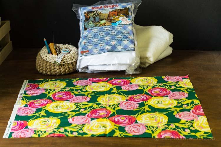 Materials to make a fat quarter trivet.