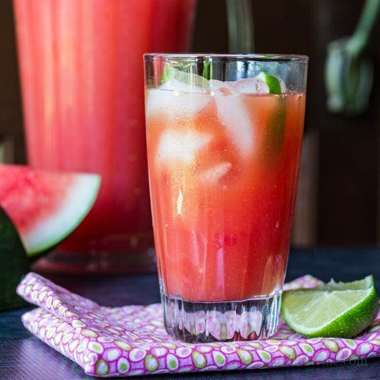 Glass of watermelon rum punch.