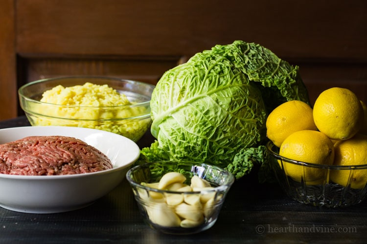 Ingredients for stuffed cabbage casserole.