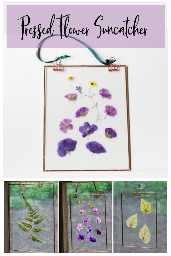 Pressed flower suncatcher art.
