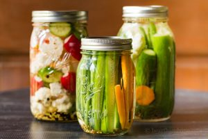 Pickled vegetables made with spices and brine can be kept in the refrigerator for several weeks, are easy to create, and make a great healthy snack.