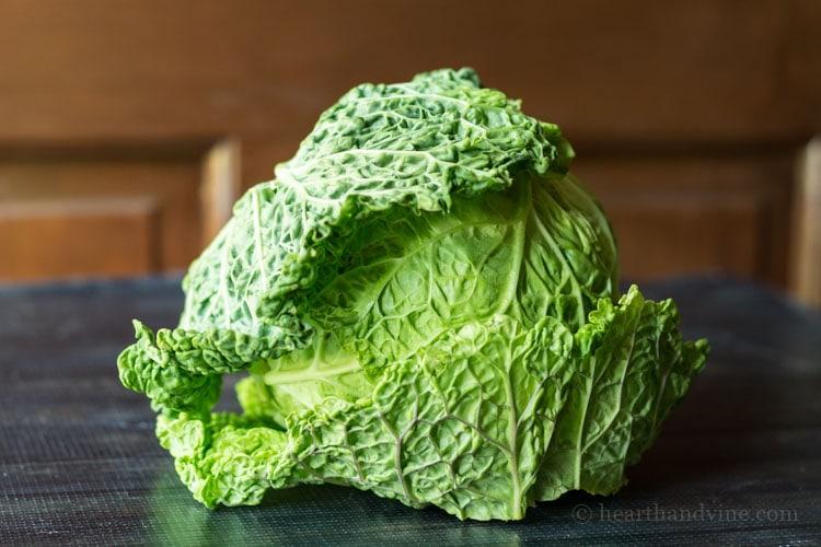 Savoy head of cabbage.