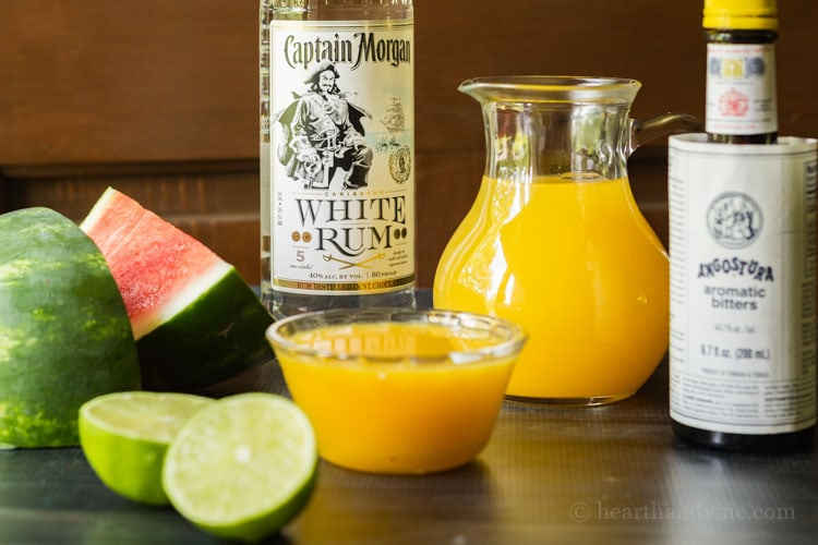 Ingredients for watermelon rum punch.