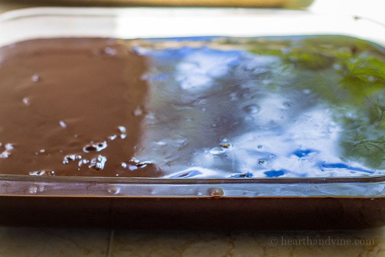 Chocolate peanut butter cake. Chocolate ganache layer.