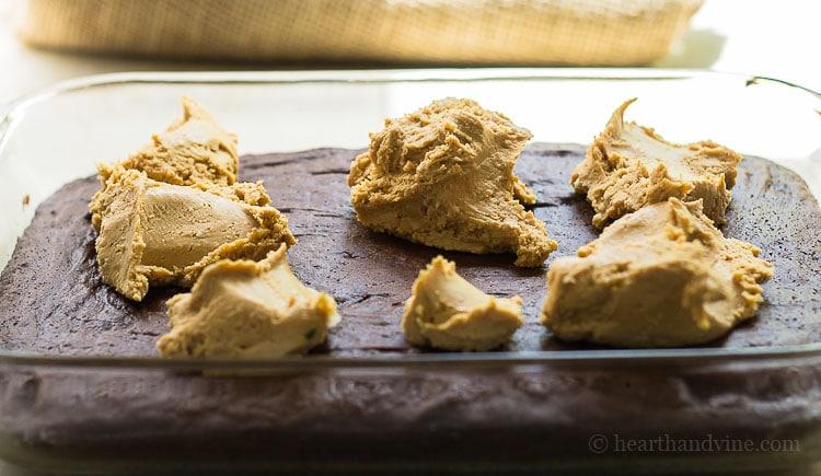Chocolate peanut butter cake. Peanut butter filling
