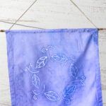 Blue batik leaf wall hanging