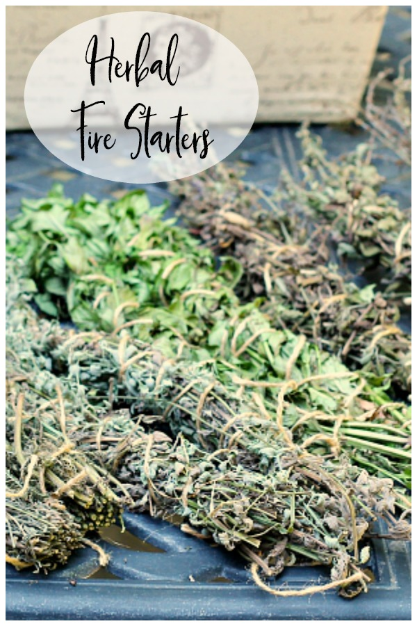 Homemade fire starters with herbs