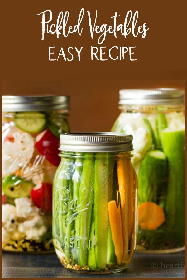 Three jars of pickled vegetables