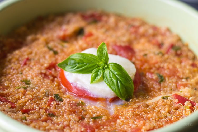 Caprese quinoa bake is a great recipe to use all the tomatoes and basil you are harvesting, and makes the perfect picnic or potluck dish.