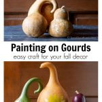 Two images. Dried gourds over painted gourds with holes to look like birdhouses.