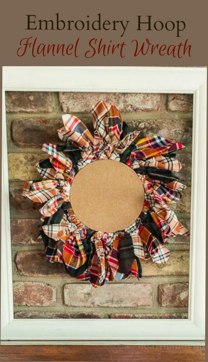 Flannel shirt material wreath with embroidery hoop