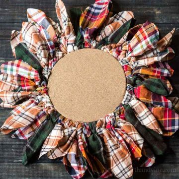 Thisembroidery hoop upcycled wreath - laying flat
