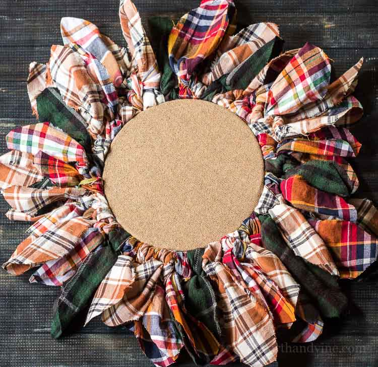 Embroidery Hoop Upcycled Wreath Made with Old Flannel Shirts