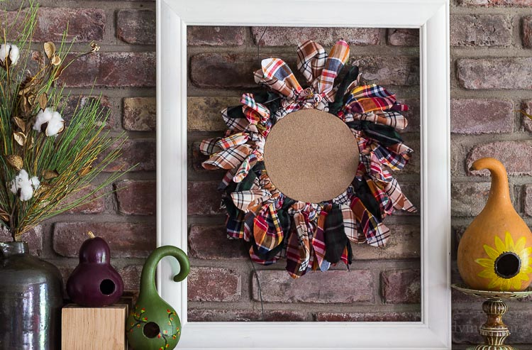 Fall Home Tour - Flannel shirt wreath