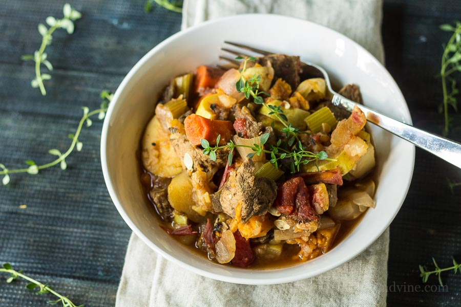 This harvest vegetable beef stew recipe is so delicious. Made in a slow cooker, it's a great way to use up a ton a fresh vegetables with very little work.