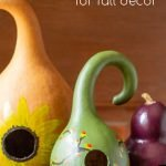 Gooseneck gourds painted and drilled to make decorative birdhouses.