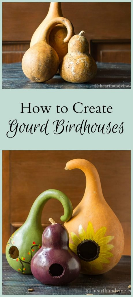 Painted birdhouse decorative gourds