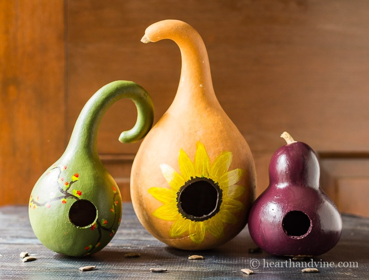 Painting gourds to look like birdhouses.