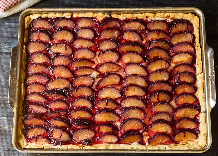 Spiced plum slab pie from the oven