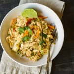This burrito bowl recipe has wonderful thai flavors that you can easily make at home, with chicken, cilantro and fresh lime, for a tasty dish.