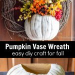 Two images. Top is a completed floral pumpkin vase wreath and the bottom shows a cut white craft pumpkin.