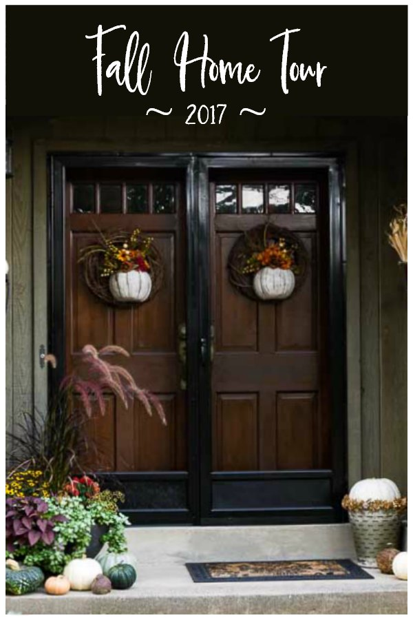 Front door decorated for fall in 2017