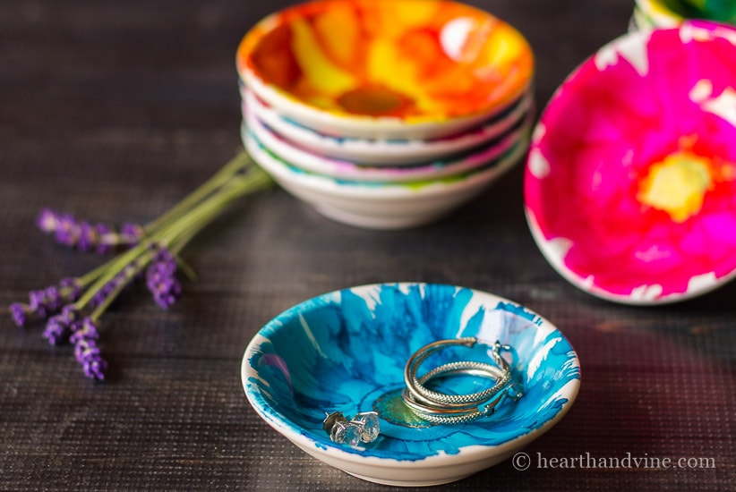 Ceramic dishes decorated with alcohol inks.