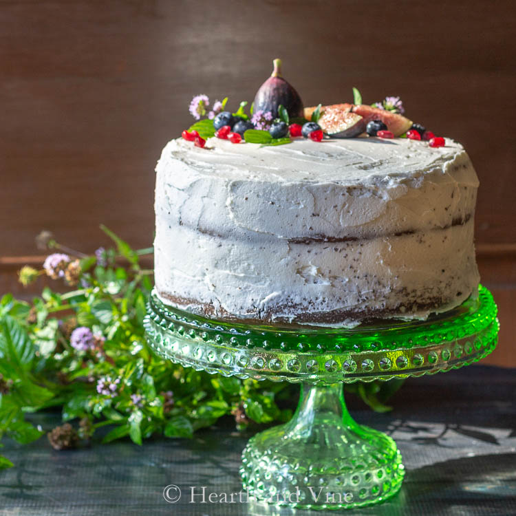 rustic cake with fruits and flowers