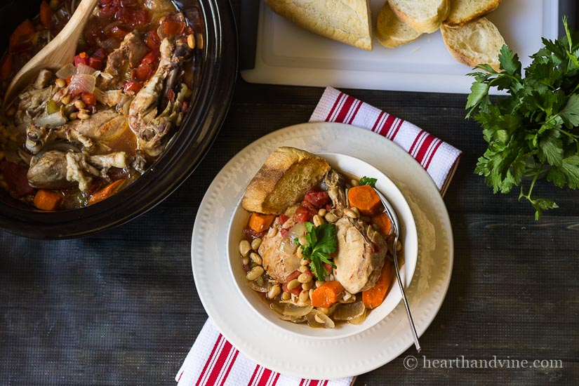This slow cooker chicken cassoulet recipe is filled with rich bold flavors and simple ingredients.