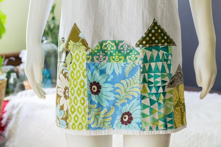 Tea Towel Apron Houses Applique