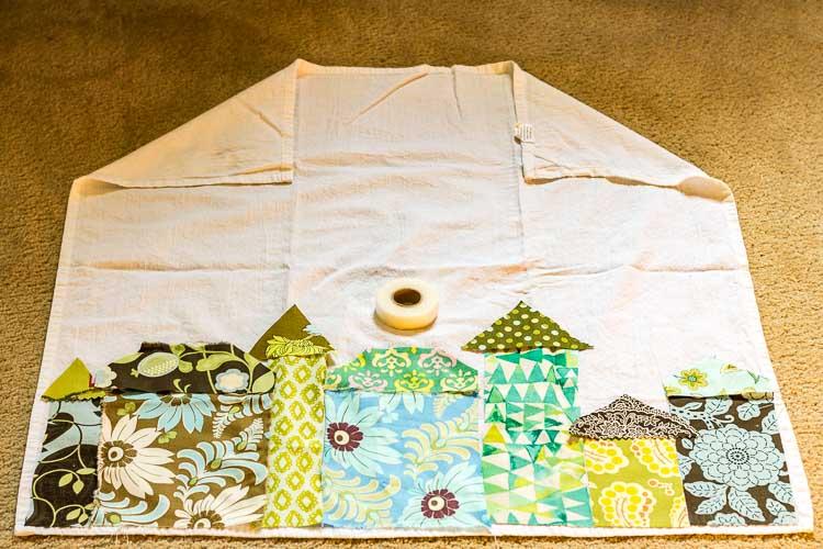Tea towel apron - fabric applique
