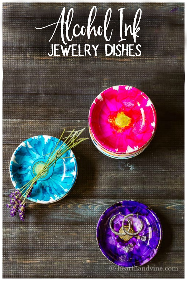 alcohol ink jewelry dishes